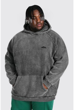 Charcoal Plus Size Loose Fit Washed Raglan Man Hoodie