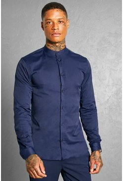 Navy Slim Fit Grandad Collar Long Sleeve Shirt