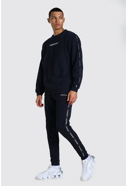 Navy Tall Official Man Tape Sweater Tracksuit