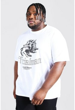 White Plus Size Official Man Cherub Print T-shirt