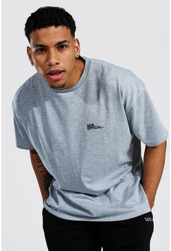 Grey marl Oversized Man Official Heavyweight T-shirt