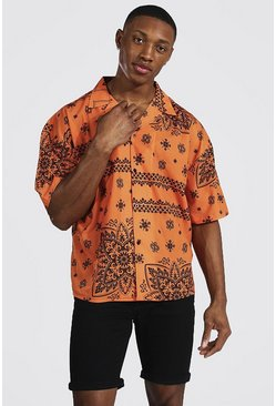 Tan Boxy Fit Revere Bandana Shirt