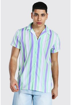 Lilac Short Sleeve Revere Stripe Shirt