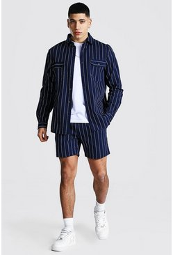 Navy Long Sleeve Twill Stripe Overshirt And Short