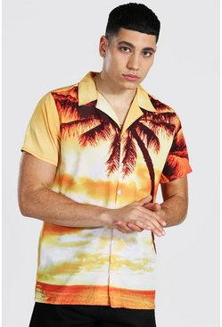 Orange Short Sleeve Revere Palm Print Shirt