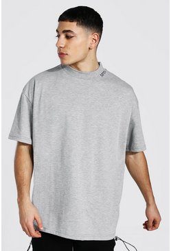 Grey marl Oversized Man Extended Neck Heavyweight Tee