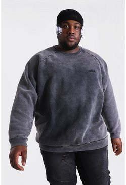 Charcoal Plus Size Loose Fit Ofcl Washed Raglan Sweat