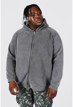 Charcoal Plus Size Heavyweight Washed Raglan Zip Hood
