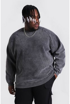 Charcoal Plus Size Heavyweight Washed Raglan Sweat