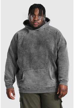 Charcoal Plus Size Heavyweight Washed Raglan Hoodie