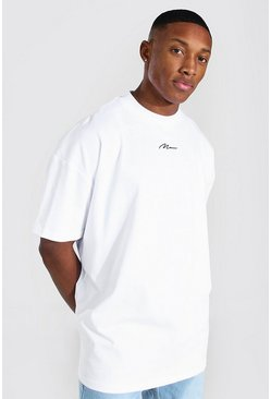 White Oversized Man Extended Neck Heavyweight Tee