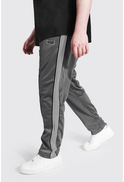 Plus Size Straight Leg Tricot Tape Jogger, Grey