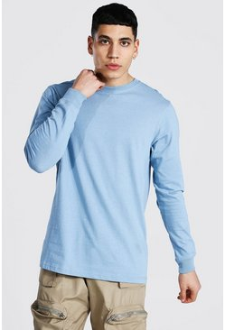 Dusty blue Long Sleeve Crew Neck T-shirt