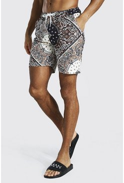 Brown Paisley Mid Length Swim Short