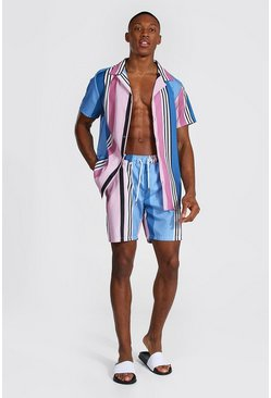 Powder blue Short Sleeve Revere Stripe Shirt And Swim