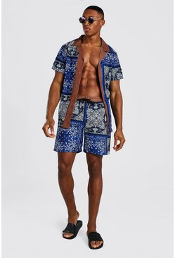 Cobalt Short Sleeve Revere Border Shirt And Swim