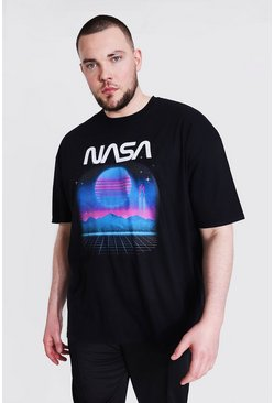Black Plus Size Neon Nasa License T-shirt