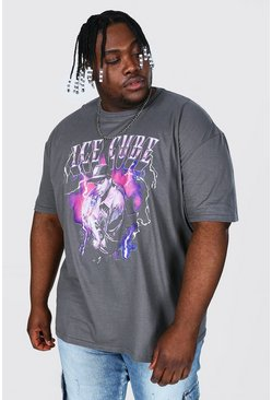 Charcoal Plus Size Ice Cube Lightening License T-shirt