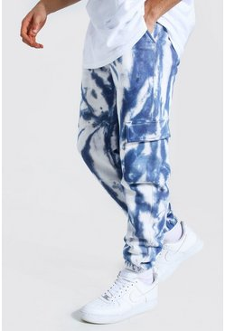 Blue Regular Man Tie Dye Cargo Joggers
