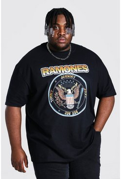 Black Plus Size Ramones Crest License T-shirt