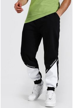 Black Regular Man Official Colour Block Jogger