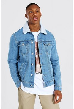 Light blue Regular Fit Borg Collar Denim Jacket