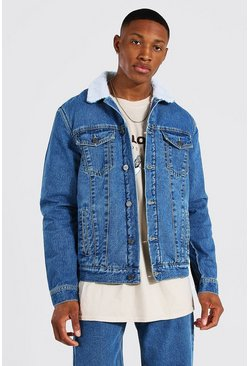 Mid blue Regular Fit Borg Lined Denim Jacket