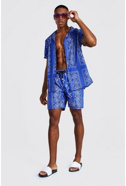 Cornflower blue Short Sleeve Revere Tile Shirt And Swim
