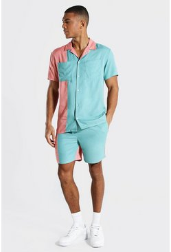 Powder blue Revere Viscose Colourblock Shirt And Short
