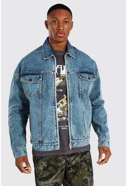 Vintage blue Oversized Zip Through Denim Jacket