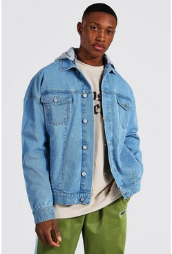 Light blue Oversized Hooded Denim Jacket