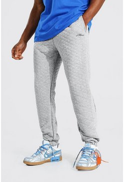 Grey marl Regular Man Signature Quilted Joggers