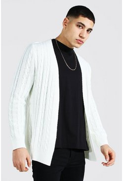 Cream Cable Edge To Edge Knitted Cardigan