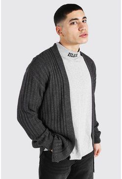 Charcoal Longline Ribbed Knitted Cardigan