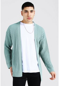 Sage Longline Ribbed Knitted Cardigan