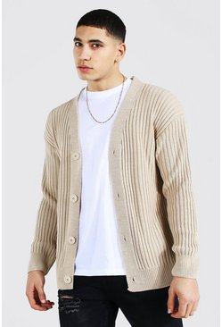 Stone Loose Fit Ribbed Knit Button Through Cardigan