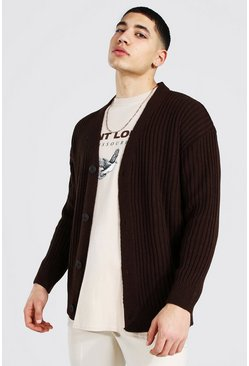 Chocolate Loose Fit Ribbed Knit Button Through Cardigan