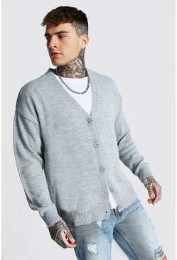 Grey marl Oversized Button Through Knitted Cardigan