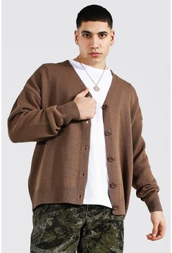 Taupe Oversized Button Through Knitted Cardigan