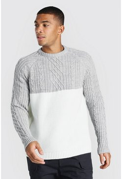 Grey marl Cable Spliced Raglan Knitted Jumper