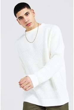 Cream Oversized Waffle Knit Raglan Sweater