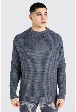 Charcoal Oversized Waffle Knit Raglan Sweater