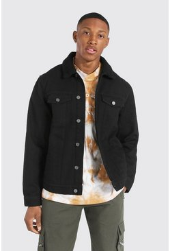 Black Regular Fit Borg Lined Denim Jacket