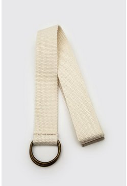 Beige Cotton Webbing Belt With D-ring