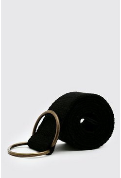 Black Cotton Webbing Belt With D-ring