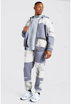 Grey Oversized Bandana Dual Zip Hooded Tracksuit