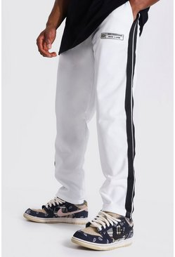 Ecru Loose Fit Tricot Joggers With Side Tape
