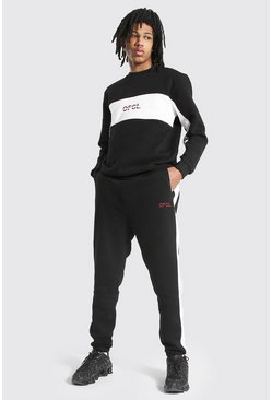Black Tall Official Colour Block Sweater Tracksuit