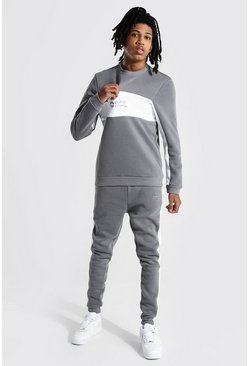 Slate Tall Official Colour Block Sweater Tracksuit