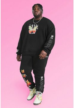 Black Plus Size Butterfly Graphic Print Tracksuit